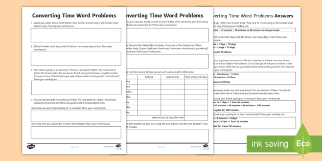 Time Conversion Word Problems Worksheets