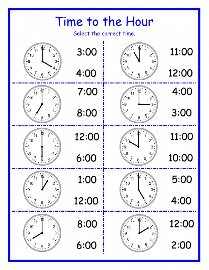 Time To The Hour Dj Worksheet