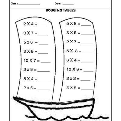 Worksheet Of Dodging Tables