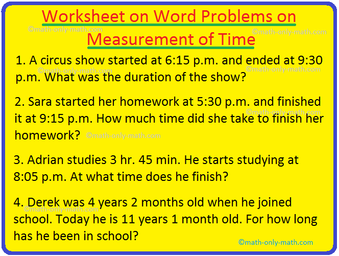 Worksheet On Word Problems On Measurement Of Time