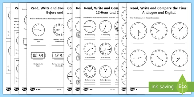 Year Read Write And Compare The Time Differentiated Worksheet