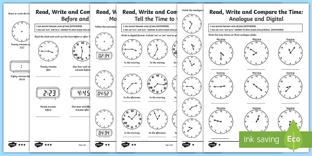 Year Tell And Write The Time Differentiated Worksheet